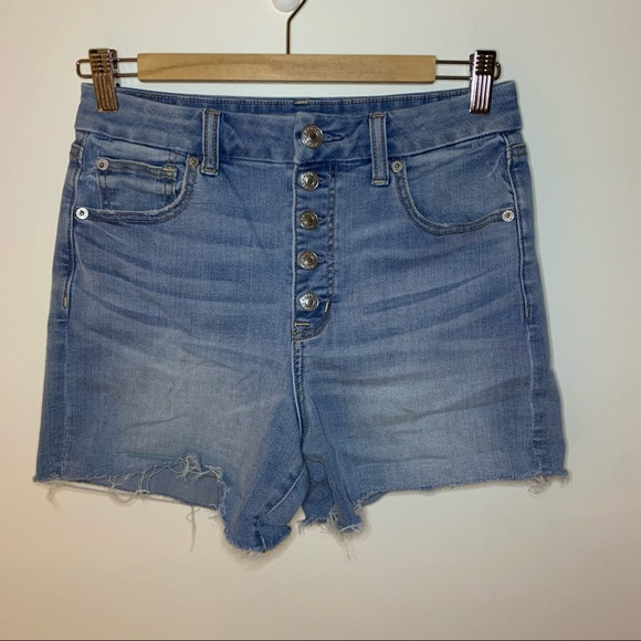 AEO // Curvy High Rise Shortie Button Shorts 6